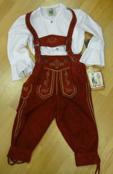 Kinder-Kniebund-Lederhose rot