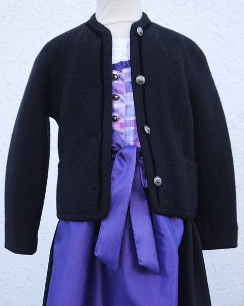 Kinder-Trachten Strickjacke schwarz, Litzlfelder