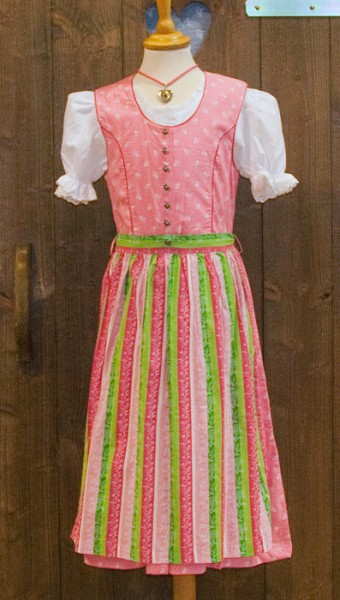 Rosa Kinder-Dirndl mit rosa-weiß-grün gestreifter Schürze, Isar Trachten