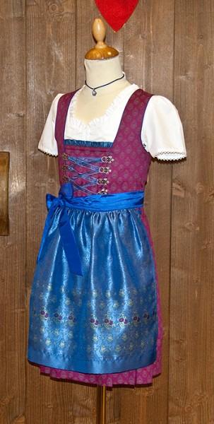 Glanzvolles Madldirndl in fuchsia mit königsblauer Schürze, Isar Trachten