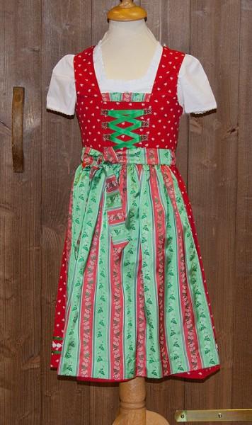 Kinder-Dirndl rot mit rot-grün gestreifter Schürze, Isar Trachten