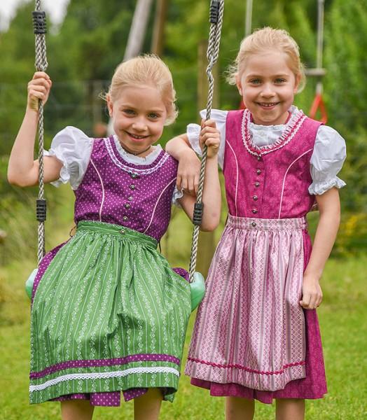 Kinder-Dirndl magenta mit rosa glänzender Schürze, Isar Trachten