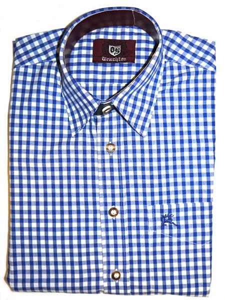 Trachtenhemd kariert dunkelblau, OS-Trachten