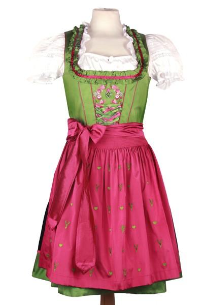 Mini Dirndl, apfelgrün-pink mit Hirschstickereien