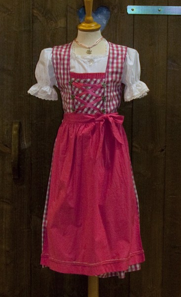 Pink-weiß-kariertes Dirndl für Kinder, Isar Trachten