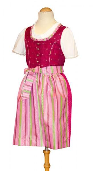 Mädchen-Dirndl pink mit rosa-grün gestreifter Schürze, Isar Trachten