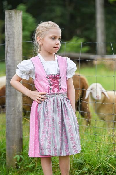 Kinder-Dirndl rosa, silberne Schürze, Isar Trachten