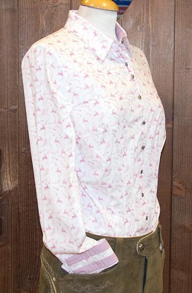Trachtenbluse mit shabby Hirschdruck in rosa, Trachtn Bäda