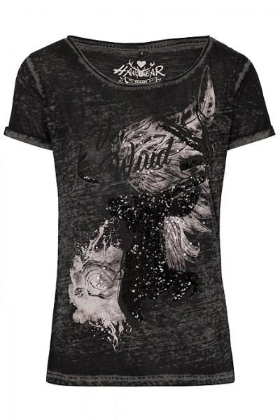 """Trachten T-Shirt """"Thordis schwarz"""" mit Pailetten, Hangowear"""
