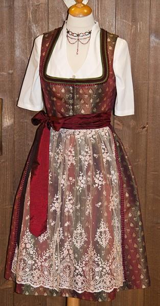Glanzvolles Midi-Dirndl in rubinrot mit Spitzenschürze von Tramontana