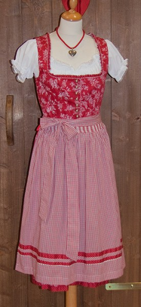 Traditionelles Midi-Dirndl in Rot, Wild & Wald