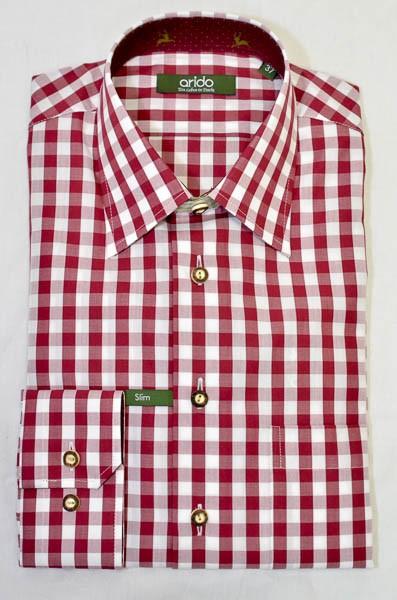 """rot, weiß, kariertes Hemd für Herren, Arido, """"Slim"""""""