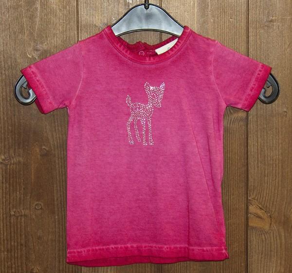 T-Shirt in pink oil-washed mit Strass-Rehkitz, Isar Trachten