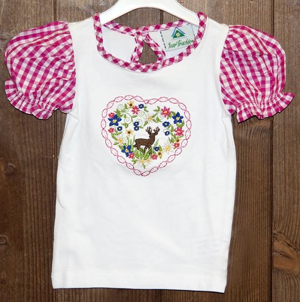 T-Shirt weiß mit pink-weiß karierten Puffärmeln, Isar Trachten