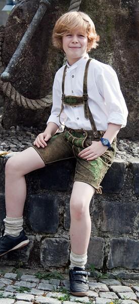 """Kurze Lederhosn in der Farbe """"Forest"""" für Burschen, Country Maddox"""