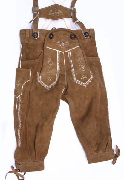 Kinder Kniebundlederhose, camel, Isar Trachten