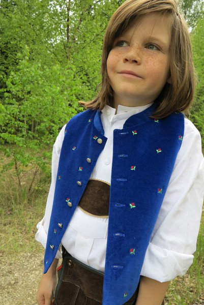 Trachtenweste für Kinder, königsblau, Isar Trachten
