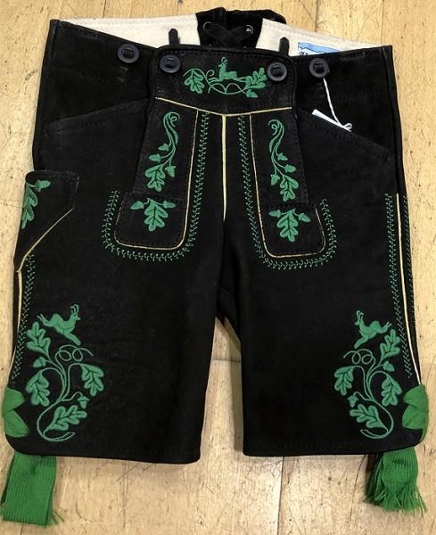 Kurze Lederhose in Schwarz mit grünen Stickereien, Meindl