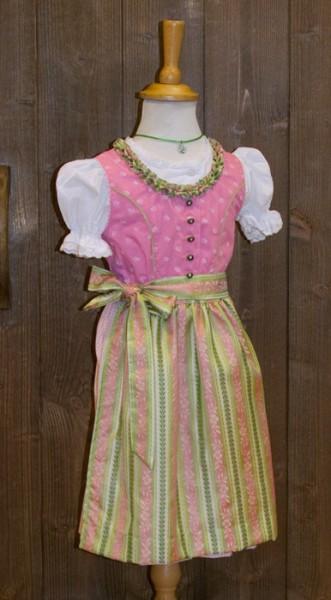 Kinder-Dirndl in rosa mit rosa-grün gestreifter Schürze, Isar Trachten