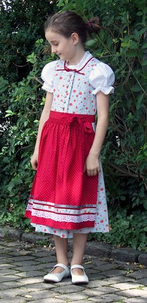 Hübsches Kinderdirndl in hellem grau mit roten Streublumen und roter Schürze, Trachtn Bäda