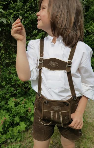 Kurze Lederhose für Kinder, braun, Isar Trachten