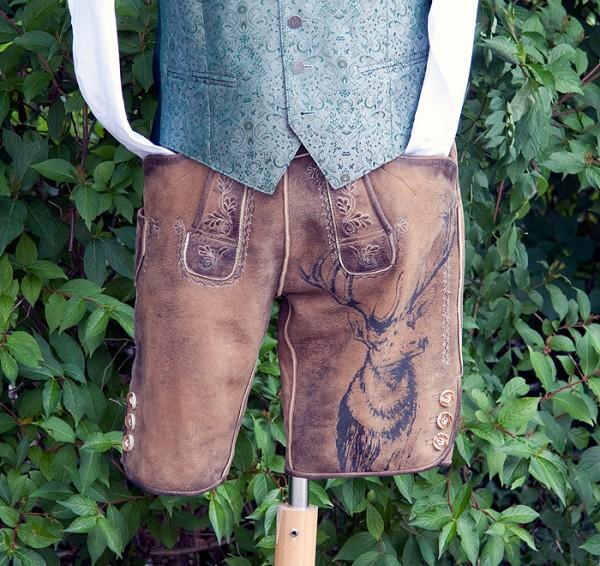 Kurze Lederhose mit trendigem Hirschdruck, Country Line