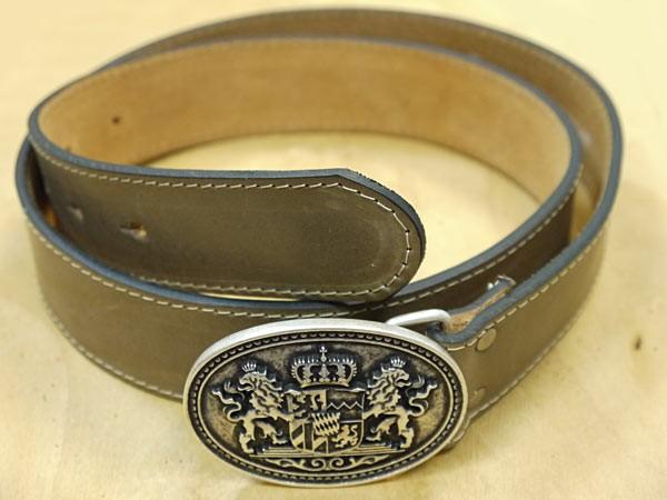 "Ledergürtel oval ""Bayrisches Wappen"" silber, hellbraun"