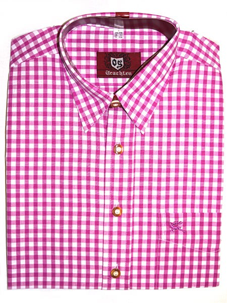 Trachtenhemd kariert pink, OS-Trachten