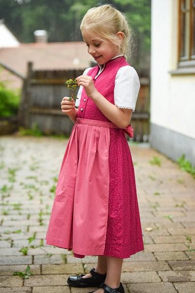 Kinder-Dirndl hochgeschlossen, pink mit dunkelrosa Schürze, Berwin & Wolff