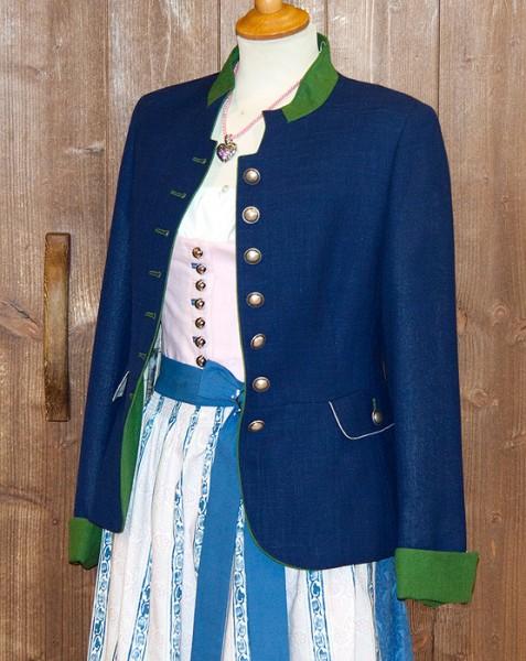 Trachtenjanker dunkelblau mit grünem Stehkragen, Kaiseralm