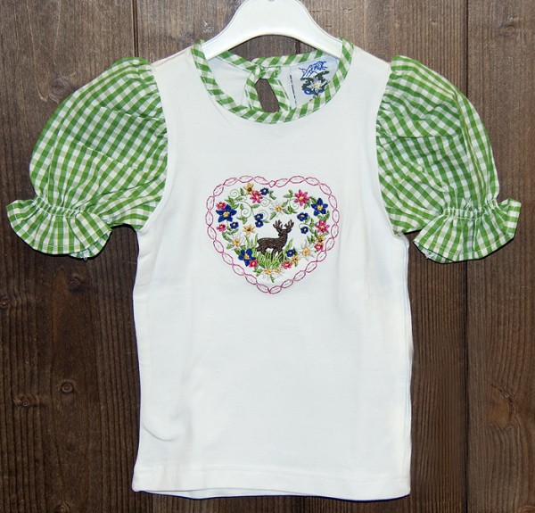 T-Shirt weiß mit grün-weiß karierten Puffärmeln, Isar Trachten